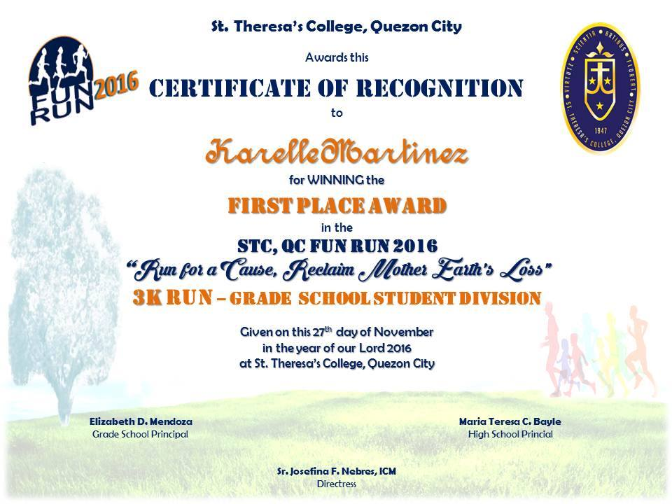 Fun run winners st theresa college quezon city 3k run grade school student division yelopaper Gallery